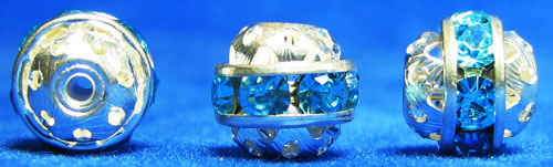 1219 - Bola Filigrana 9 mm Aqua/Plata